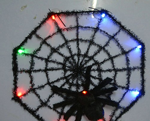[ASSIS Extra Large Rope Spider Web with Furry Black Spider Halloween Decoration] (Pictures Of Homemade Pig Costumes)