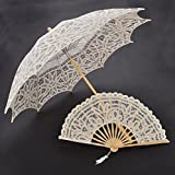 Ivory Cream Full Battenburg Floral Wedding Lace Umbrella Sun Parasol & Fan Set Bridal Shower Party Photography Props