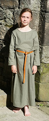 [CL BATTLE SUPPLIES Medieval-Larp-Re Enactment-Sca-Viking-Dark Age-Anglo-Saxon Green Kirtle Underdress Child Size Xs Age] (Larp Costumes Uk)