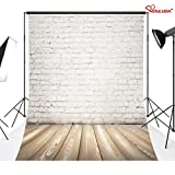 Duluda White brick wall 5X7FT Indoor Studio Photography Background Computer-printed Poly Fabric Seamless Backdrop GMT05
