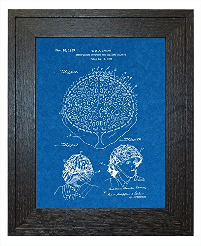 "Camouflaging Covering For Military Helmets Patent Art Blueprint Print in a Rustic Oak Wood Frame (24"" x 36"")"