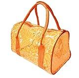 ビニール カラフル 透明 バッグ 【 防水 】 ビーチやプール 水着入れ ピクニック アウトドアに (オレンジ)