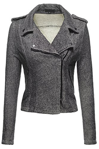 Double Breasted Moto 2Tone French Terry Knit Jackets, 039 - Black, Small