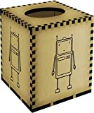 Square 'Frowning Robot' Wooden Tissue Box Cover (TB00002969)