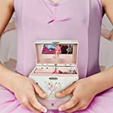 TolsToys Jewelry Music Box - Dancing Ballerina Wind-Up, Hinged Top, Two Drawers, Swan Lake Melody