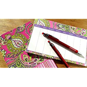 Ana Grace 4-piece Planner Stationary Set in Hot Pink with Paisley Shabby Chic Design