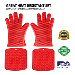 Silicone Heat Resistant Set, - 2 silicone Cooking, Oven gloves and 2 Silicone Pot Holders, Trivet Mat, - Best for Kitchen BBQ Grilling & Baking, Protecting Countertops and Tables,