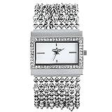 Anne Klein Women's 109707WTSV Swarovski Crystal Silver-Tone Rectangular Shape Chain Bracelet Watch