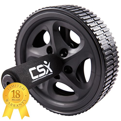 CSX Dual Ab Roller Exercise Wheel with Extra Thick Knee Pad Mat...