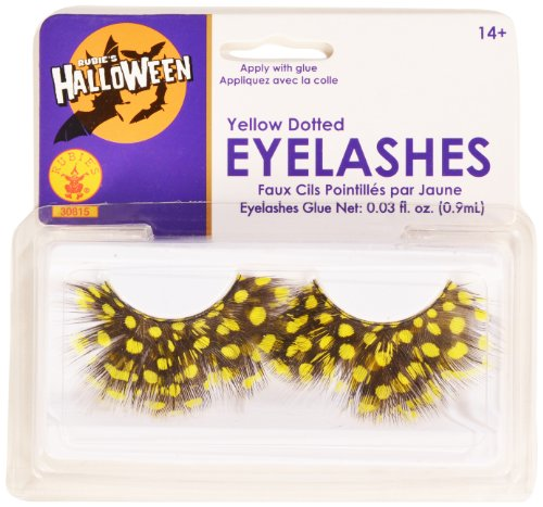 Rubies Yellow Dotted Eyelashes and Adhesive