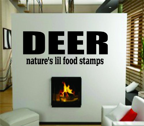 Deer Natures Lil Food Stamps - Hunter Hunting Animal Outdoor Sports Picture Art - Living Room - Peel & Stick Sticker - Vinyl Wall Decal - Discounted Sale Price - - Size : 6 Inches X 18 Inches - 22 Colors Available front-459308