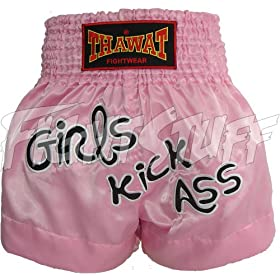 Thawat Pink Martial Arts Girls Kick Ass Muay Thai Boxing Shorts