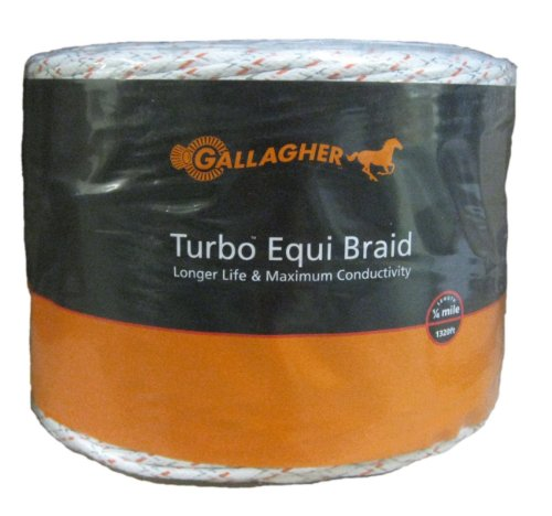 Gallagher G62176 Electric Turbo Equibraid Rope, 1312-Feet, White