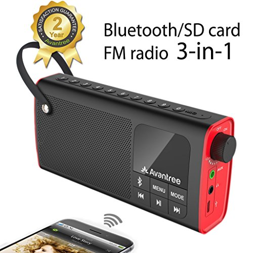 Avantree Portable Speaker, 3-in-1 Bluetooth, FM Radio, SD Card Player, Outdoor Indoor, Auto Scan & Save, One Click Entry, Replaceable Battery - SP850