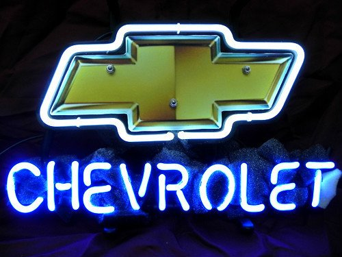 "New Chevy Chervolet US Auto Beer Neon Light Sign Home Beer Bar Pub Recreation Room Game Room Windows Garage Wall Sign 17w""x 14""h"