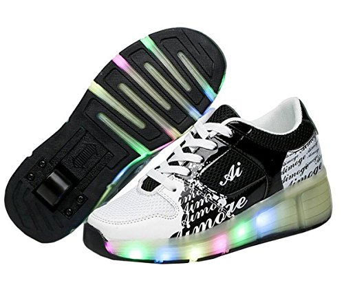 luce a LED per gli uomini e le scarpe casual delle donne e dei bambini Heelys rullo 7 cambiamento di colore (32, nero)