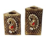 BEAUTIFUL FESTIVE TRADITIONAL LOOK T- LIGHT HOLDER SET WITH ARTIFICIAL STONES - SET OF 2 PCS