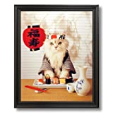 Sushi Cat Kitten # 1 Kitchen Cafe Home Decor Wall Picture Black Framed Art Print