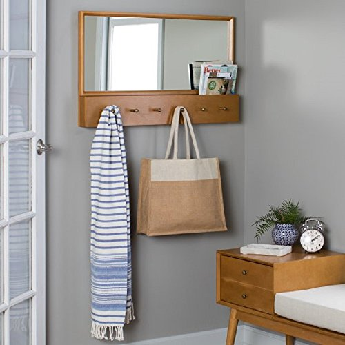 Modern Wall Mounted Coat Hook w/ Mail Slot & Mirror, Entryway, Hallway or Mudroom Shelf, w/ 6 Hooks for Coats, Shawls, Scarves, Umbrellas, 34W x 3.25D x 21H in. – Natural Finish + Free Ebook