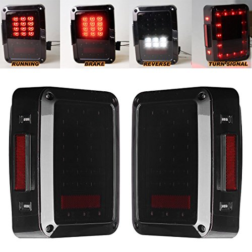 LED Tail Lights for JK 2007-2015 Jeep Wrangler with Running Brake Backup Reverse Turning Signal Light Tail Lamp Assembly (Jeep Smoke Fog Lights compare prices)