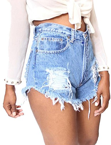 Haola Women's Juniors Denim High Waist Distressed Cutoff Shorts Blue S Denim Cut Off Shorts