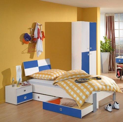 5-tlg Jugendzimmer weiß – marineblau Jugendbett Nachttisch Kleiderschrank