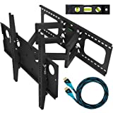 Cheetah Mounts Plasma LCD Flat Screen TV Articulating Full Motion Dual Arm Wall Mount Bracket For 32-65&quot; Displays Up To 165LBS With 10' High Speed HDMI Cable With Ethernet Fits Up To 24&quot; Studs