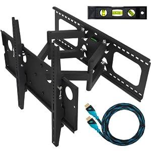 Cheetah Mounts Plasma LCD Flat Screen TV Articulating Full Motion Dual Arm Wall Mount Bracket For 32-65