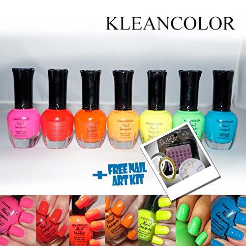 7pc-Kleancolor-Nail-Polish-Lacquer-Neon-Colors-FREE-Nail-Art-Decoration-Kit