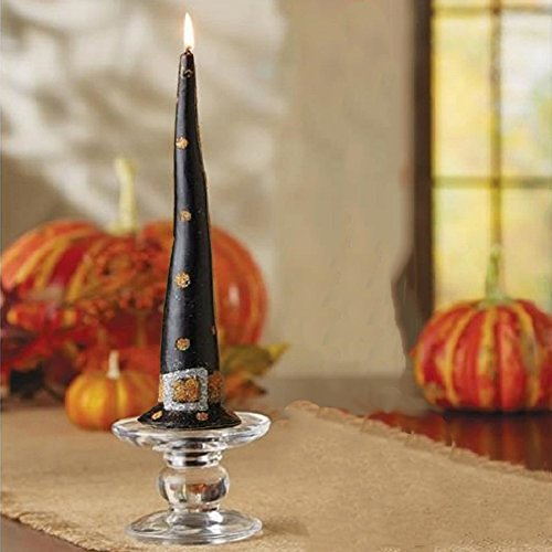 [Halloween Candle Witch Hat Taper w Polka Dots 4985049P Mud Pie Gifts] (Halloween Candles)