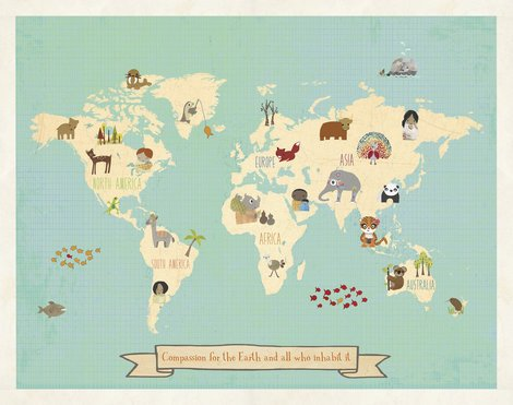 Global Compassion World Map 24x18 Print, Children's Wall Art Map, Kid's Animal World Map, Nursery Décor, Nature Themed Nursery, Nursery Wall Art, Kid's Art, Kid's Decor, Gender Neutral Nursery