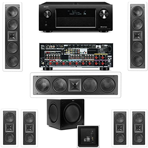 Klipsch Kl-6504-Thx(3 Speaker) In-Wall 7.1-Sw-310 Denon Avr-X4000 In-Command 7.2- White