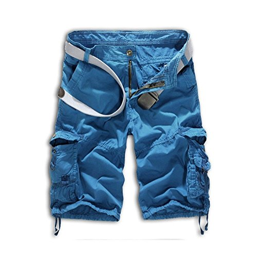 Leward Mens Casual Slim Fit Cotton Solid Multi-Pocket Cargo Camouflage Shorts (34, Blue) Cotton Camouflage Shorts