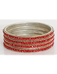 Four Red Stone Studded Bangles - Metal