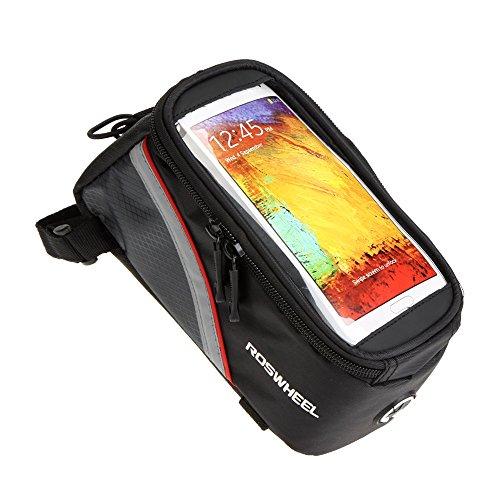 """Bicicletta Sacchetto Supporto smartphone ROSWHEEL bici della bicicletta del  borsa del tubo Telaio frontale in PVC trasparente con linea di estensione audio per 5.5 """"cellulare"""