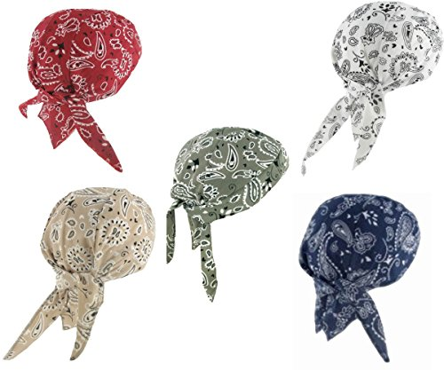 Assorted Biker Skull Cap Set Doo Rags with SWEATBANDS White Red Gray Blue Tan