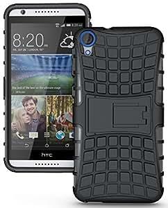 Wellmart Hybrid Defender Military Grade Armor Kick Stand Back Case Cover for HTC Desire 728 (Black)