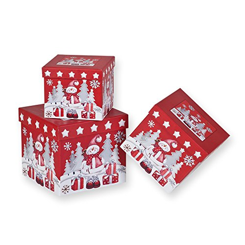 3 Piece Christmas Nesting Gift Boxes; Red Background with Snowman!