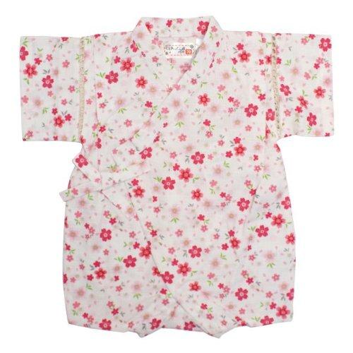 甚平 ロンパース ベビー 女の子 綿100% 日本製生地 さくら 和柄 じんべい ロンパース 甚平 ホワイト 80cm