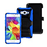 4 Items Combo For Samsung Galaxy Grand Prime LTE G530 (Cricket) Blue / Black Heavy Duty Armor Style Combat Hybrid Dual Layer Protective Case Cover with Built in Kickstand and Belt Clip Holster + Car Charger + Free Stylus Pen + Free 3.5mm Stereo Earphone Headsets