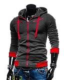 (エーライフ) A LIFE メンズ ジャケット パーカー フード付き ジャージ トレーナー フィットネス トレーニング (グレー・レッド/M)