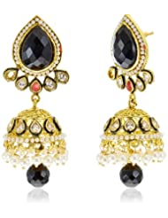 Azotique Pearl Jhumki Earrings For Women (Black) (AZ ER 26)
