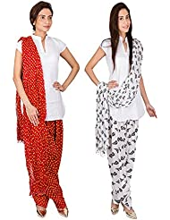 Womens Cottage Combo Pack Of 2 Printed Cotton Semi Patiala & Cotton Dupatta With Lace Set - B01G1GK0BA