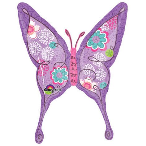 "37"" Purple Floral Swallowtail Butterfly - 1"