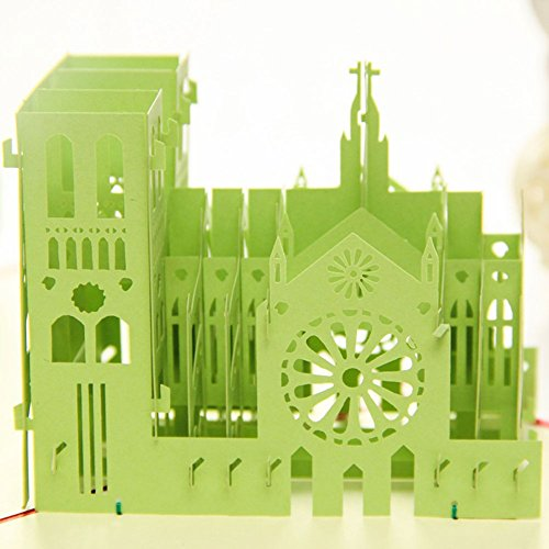 Made4U Notre Dame De Paris Kirigami Papercraft 3D Pop Up Cards Anniversary Baby Birthday Easter Halloween Mother'S Day New Home New Year'S Thanksgiving Valentine'S Day Wedding Christmas Cards Hk3007-B