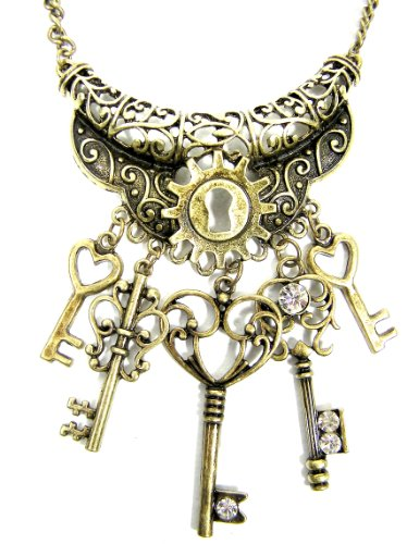 Skeleton Keys Necklace Antique Victorian Clockwork Lock Steampunk Vintage Brass Charm Pendant Fashion Jewelry