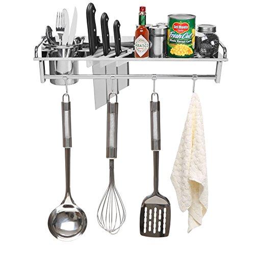 Chrome wall mounted kitchen spice rack w utensil pot pan hanger hooks silverware caddy - Wall mounted spice racks for kitchen ...