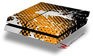 Halftone Splatter White Orange - Decal Style Skin fits original PS4 Gaming Console