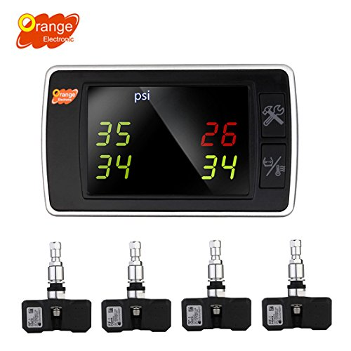 Orange Wireless Tire Pressure Monitoring System, BAR/PSI/KPA 4 Internal Sensors TPMS, Real-time Transmitter Diagnostic Alarm Function, Temperature Gauge, Cigarette Lighter LED Display for Car DIY P409S (Tire Pressure System compare prices)