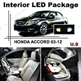 Honda Accord 2003-2012 (12 Pcs) Xenon White LED Lights Interior Package and White LED License Plate Kit